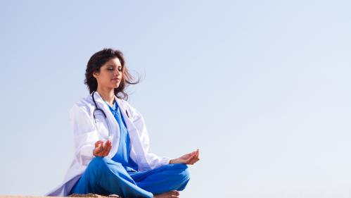 Shutterstock Doctor doing YOGA