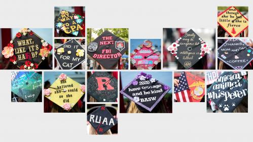 Collage of decorated mortar boards