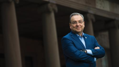 Antonio Calcado, the executive vice president for strategic planning and  operations and chief operating officer, Institutional Planning and Operations, stands outside Winants Hall at Rutgers University–New Brunswick.