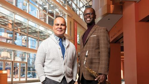 Rigoberto González, left, and Mark Gross at the New Jersey  Performing Arts Center.