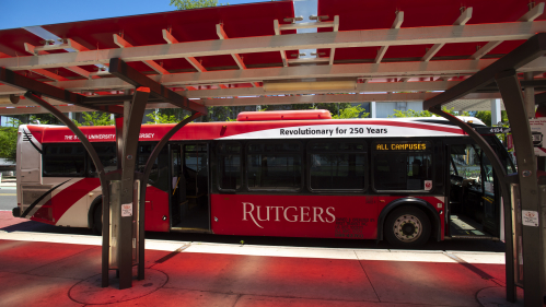 Rutgers bus on New Brunswick campus