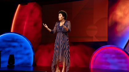 Whitney Pennington Rodgers on stage at TEDWomen