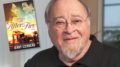 Jerry Izenberg with his first novel