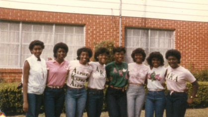 Valerie Johnson, third from left, and her AKA sisters in 1984 in a photo