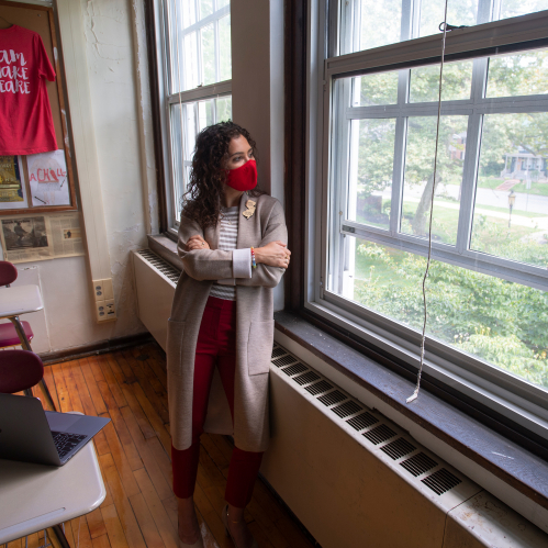 Kimberly Dickstein Hughes (RC'08, GSE'09), voted the 2019-2020 New Jersey Teacher of the Year, in in her classroom at Haddonfield Memorial High School where she teaches grades 9 through 12