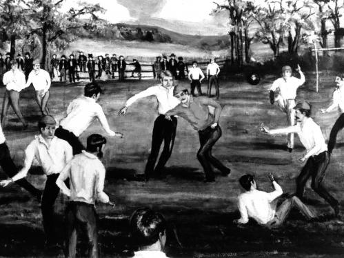 Painting of the first football game