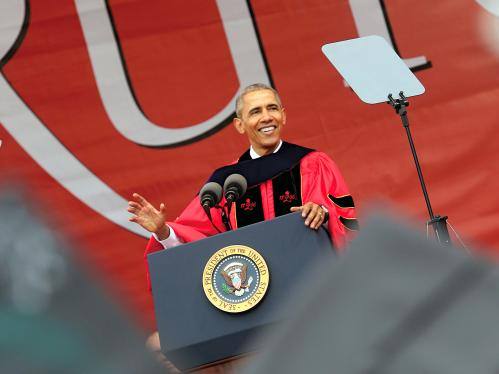 Barack Obama delivering the 250th anniversary commencement