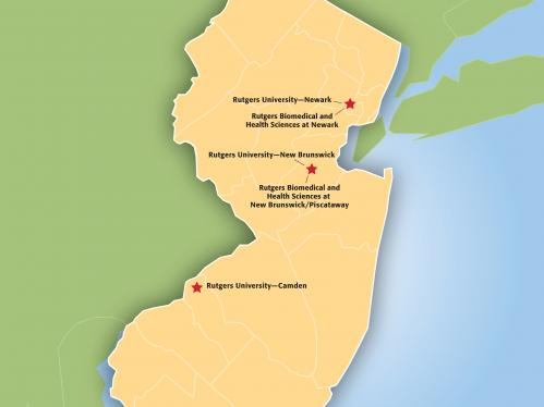 New Jersey map with Rutgers locations