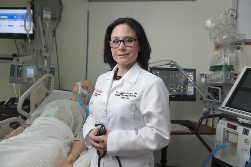 Liza Barbarello Andrews, a clinical associate professor at Rutgers' Ernest Mario School of Pharmacy and critical care pharmacy specialist at Robert Wood Johnson University Hospital